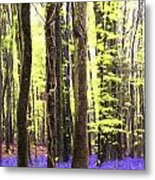 Cezanne Style Digital Painting Vibrant Bluebell Forest Landscape Metal Print