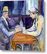 Cezannes The Card Players In Watercolor Metal Print
