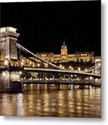 Chain Bridge And Buda Castle Winter Night Painterly Metal Print