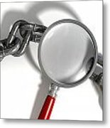 Chain Missing Link Magnifying Glass Metal Print by Allan Swart