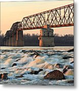 Chain Of Rocks Winter Sunset Metal Print