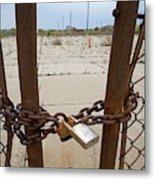 Chained And Padlocked Gate Metal Print