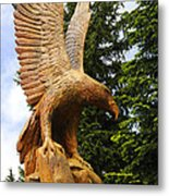 Chainsaw Carved Eagle Metal Print