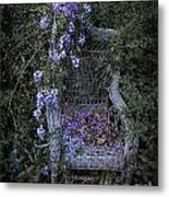 Chair And Flowers Metal Print