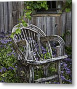 Chair In The Garden Metal Print