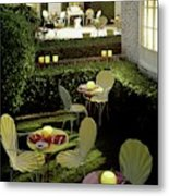Chairs And Tables In A Garden Metal Print