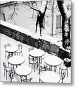 Chairs And Tables In Snow Metal Print