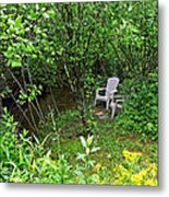 Chairs By The Creek In Summer Metal Print