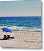Chairs On The Beach With Umbrella Metal Print