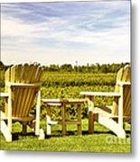 Chairs Overlooking Vineyard Metal Print by Elena Elisseeva