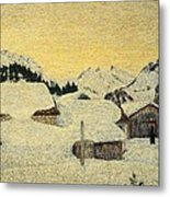 Chalets In Snow Metal Print by Giovanni Segantini