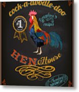 Chalkboard Poster For Chicken Metal Print