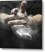 Chalked Hands, High-speed Photograph Metal Print