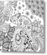 Chameleon In Fantasy Forest. Animals Metal Print