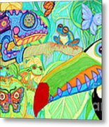 Chameleon And Toucan Metal Print