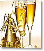 Champagne And New Years Party Decorations Metal Print