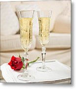 Champagne And Rose Metal Print