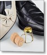Champagne And Shoes For Saint Valentine Metal Print