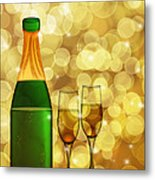 Champagne Bottle And Two Glass Flutes Metal Print
