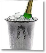 Champagne Bottle On Ice Metal Print
