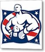 Champion American Boxer Akimbo Retro Metal Print by Aloysius Patrimonio