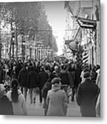 Champs Elysees Black N White Metal Print