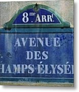Champs-elysees Sign Metal Print