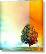 Change Of The Seasons - The Moment When Summer Meets With Fall Metal Print