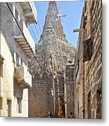 Changing Of The Flag On Krishna Temple Dwarka Metal Print