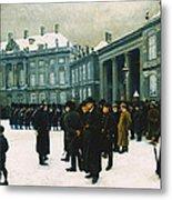 Changing Of The Guard At Amalienborg Palace Metal Print