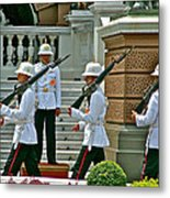 Changing Of The Guard Near Reception Hall At Grand Palace Of Thailand In Bangkok Metal Print