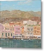 Chania Harbour Early Summer Morning Metal Print