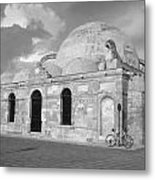 Chania Mosque Crete Black  And White Metal Print