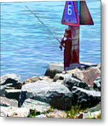 Channel Fishing Metal Print