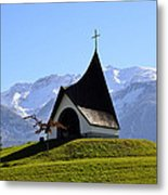 Chapel In The Alps Metal Print