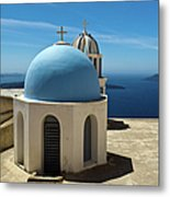 Chapel On Santorini Metal Print