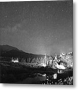 Chapel On The Rock Stary Night Portrait Bw Metal Print