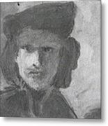 Charcoal Study Of Rembrandt  Self-portrait With Velvet Beret Metal Print