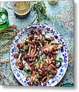 Chargrilled Lemon Oregano Octopus Metal Print