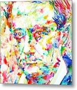 Charles Baudelaire Watercolor Portrait.1 Metal Print