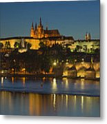 Charles Bridge And Prague Castle At Dusk  Metal Print