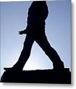 Charles De Gaulle Statue Silhouette On The Champs Elysees In Paris France Metal Print