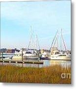 Charleston Harbor Boats Metal Print