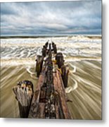 Charleston Sc Folly Beach Coastal Atlantic Ocean Metal Print