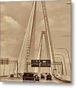 Charleston's Magnificent Cable Bridge In Sepia Metal Print