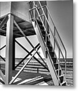 Charlevoix Lighthouse In Black And White Metal Print