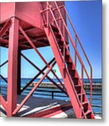Charlevoix Lighthouse Steps Metal Print