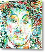 Charlie Chaplin - Watercolor Portrait Metal Print