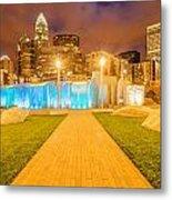 Charlotte City Skyline At Night Metal Print