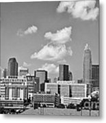 Charlotte Skyline In Black And White Metal Print